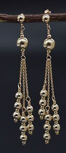 New 14K Solid Yellow Gold Round Triple Bead Drop/Dangle Earrings