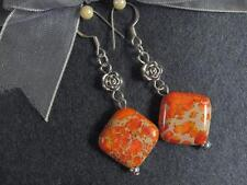 Sediment Jasper 16mm Rhombus 925 Gemstone Earrings Dyed Orange Sea