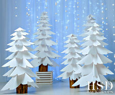 Paper Trees Photography Backdrop Christmas Photo Props Holiday Background 6'x5'