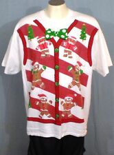 Christmas Sweater Vest on White 2XL T-Shirt by Gildan Cotton
