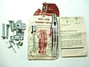 National N61-308 Cabinet Door Mechanical Pull Handle Latch Chrome 2 White Lines