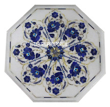 12 white marble restaurant coffee table top lapis inlay home decor marquetry - Marble Restaurant Decor