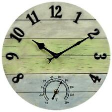 "14"" Large Wall Clock Rustic Vintage Gray Weathered Indoor Outdoor Mount Analog"