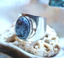 Breit Silberring 58 Schneeflocken Obsidian Handarbeit Schlicht Silber Ring Grau