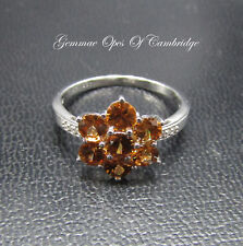 9K Gold 9ct gold Cinnamon Zircon and Diamond Ring Size R 1/2 3g