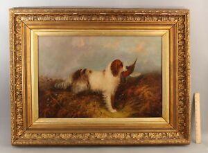 Large 19thC Antique L. LANGLOIS Landseer Hunting Dog Pheasant Bird Oil Painting
