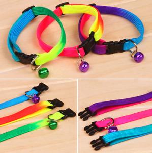Rainbow Neon Rave Cute Adjustable Collar Cat Kitten Rabbit Bell Party Buckle UK