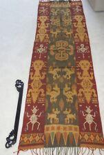 Handspun Hand woven Figural Sumba Hinggi Warp Ikat 8ft Tapestry Waeo Songket 45