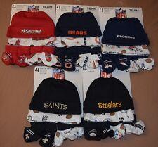 NFL 4pc Gerber Baby Caps Booties Set 49ers Bears Broncos Saints Steelers Beanies