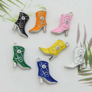 Wholesale Mixed Lots Assorted High Heel Boots Pendant Charms DIY Crafts 14pcs