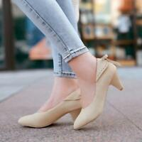 Women's Faux suede Kitten Heels Pointed Toe Pump Elegant OL Chic Shoes Plus Size