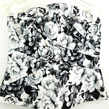 White House Black Market Womens Tiered Floral Bustier Top Size 6 Black White