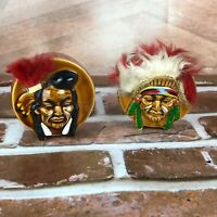 Vintage Salt and Pepper Shakers Indian Native American Chief head drums