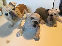 DANBURY MINT -  Bulldog DOG STATUE  set Of 3 Duke Petey Rocky