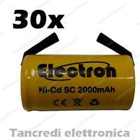 30 PEZZI BATTERIA RICARICABILE NI-CD SC 1,2V 2000mAh 22x42mm A SALDARE 30/307