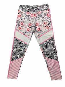 Lotus Leggings yoga gym activewear skull roses pink white black pants plus Large