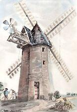 AQUARELLE COULEUR VIEUX MOULIN / Moulin de Citernes ( Somme)