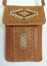 Universal Cell Phone Case Crossbody Brown w Beige Teal Embroidery Pewter Studs