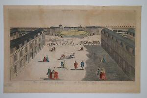 VUE OPTIQUE Chateau Versailles 1761 GRAVURE EAU FORTE Mondhard XVIII° Siecle