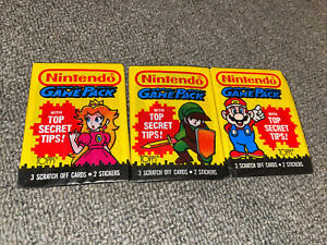 Nintendo Game Pack Vintage Trading Cards (3) Wax Packs 1989 Topps Mario Link Etc