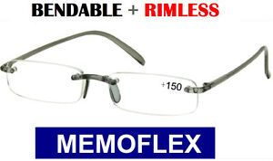 MEMOFLEX READING GLASSES RIMLESS SPECS Flexi Flexible Readers Memory Mens Ladies