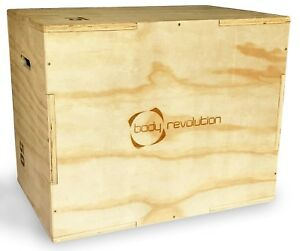 Plyometric Jump Box Squat Wooden Plyo 3 Heights Gym Plyometrics 50x60x75cm Gym