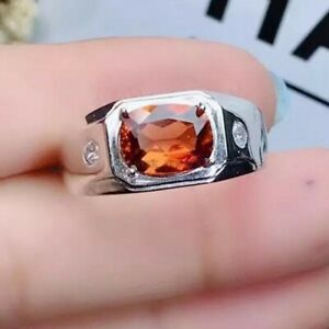 Natürlich Hessonit Granat Edelstein Mit 925 Sterlingsilber Ring für Herren #901