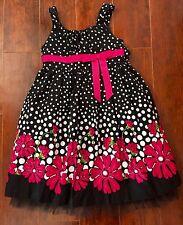 GIRLS BONNIE JEAN DRESS SIZE 4 Black Pink Polkadots Flowers Party Easter