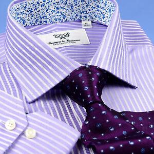 Pink Purple Striped Dressy Formal Business Shirt Easy Iron B2B Boss Men Clothing