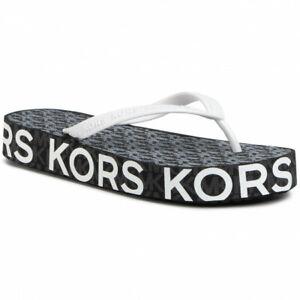 Michael Kors Women Platform Flip Flop Thong Sandals Joey Flip Flop Black PVC