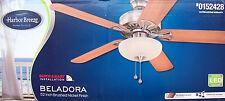 HARBOR BREEZE 52-inch Brushed Nickel Ceiling Fan w/LED - BELADORA - NEW