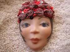 Vintage Lady Head Face Pin Signed