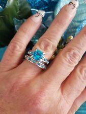 💙Blue Diamond Simulant Wedding Set, High Polished Titanium, Size 6