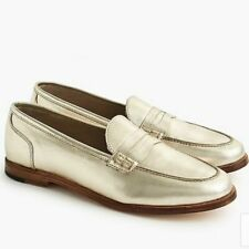 J. Crew  Ryan loafers Leather shoes Size 8 Metallic light Gold - NWT