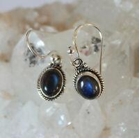 Labradorit Ohrhänger 925 Silber Edel Ohrschmuck Blau-Schimmer Oval Ohrringe Edel