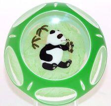 Large GORGEOUS John  DEACONS Feeding PANDA Bear 2 Overlay ART Glass PAPERWEIGHT