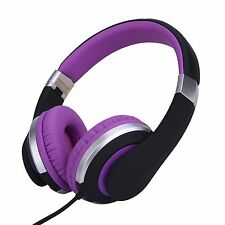 RockPapa Foldable Adjustable Headphones Mic for MP3 Laptop Kindle iPhone Purple
