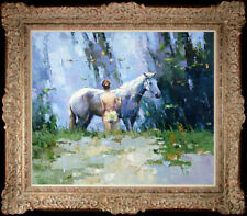 """Hand-painted Original Oil painting art knife horse Small girl On Canvas 20""""x24"""""""