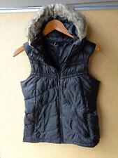 Mondetta Down Puffer Vest Faux Fur Hood Black Women's Size M Medium