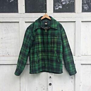 Vtg Johnson Woolen Mills Green Wool Buffalo Plaid Hunting Coat USA Mens large