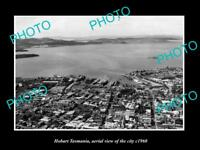 OLD LARGE HISTORIC PHOTO OF HOBART TASMANIA, AERIAL VIEW OF THE CITY c1960 2