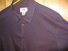 ARMANI EXCHANGE / AX, Purple w Rust Stripes Long Sleeve Cotton Shirt, XL