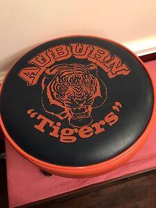 Vtg Mid-Century Blue & Orange Auburn Univ FOOT STOOL Naugahyde Leather Ottoman