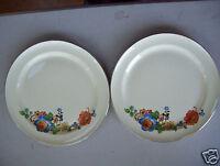 "Taylor Smith & Taylor Set Of 2 Dinner 9"" Plates Cream Floral Design"