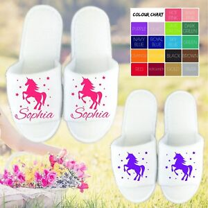Unicorn White Open Toe Slippers - Personalised Name Novelty Spa Day Hen Party