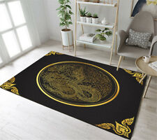 Black & Gold Dragon Pattern Floor Rug Mat Bedroom Carpet Living Room Area Rugs