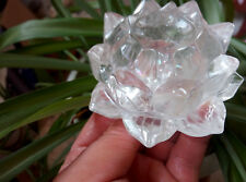 Rainbow!!! Hand Carved Clear Natural QUARTZ CRYSTAL lotus flower carved Healing