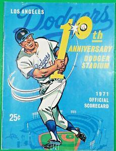 Los Angeles Dodgers 1971 Scorecard Celebrates Stadium's 10th Anniversary