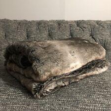 Restoration Hardware Luxe Faux Fur Throw, 50 x 60, Wolf