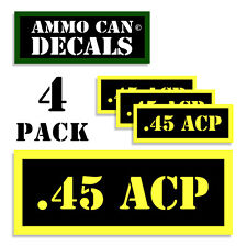 45 ACP Ammo Can Label 4x Ammunition Case stickers decals 4 pack YW MINI 1.5in